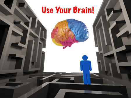solver: use your brain concept with labyrinth and colourful brain Stock Photo