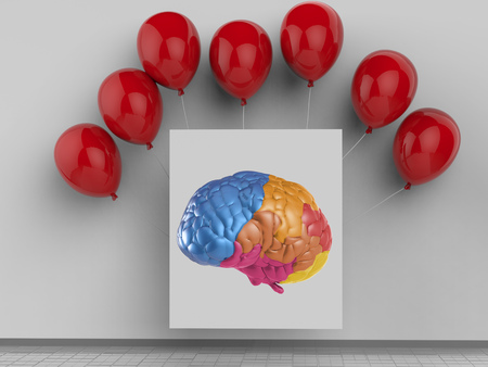 brain stem: creativity concept with 3d rendering colorful brain