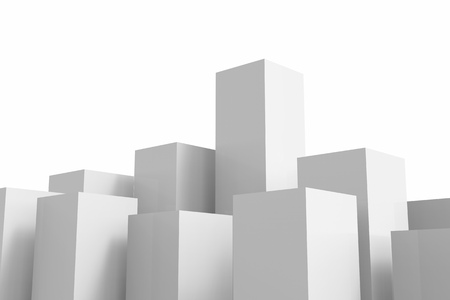 real leader: 3d rendering white buildings on white background