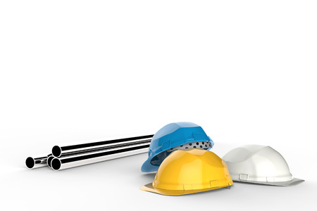 ingeniero civil: civil engineer concept with safety helmets and pipeline