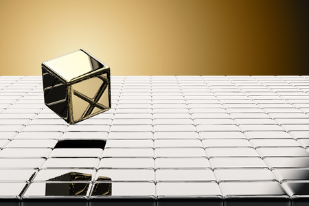 pop up: leadership concept with 3d rendering gold cubic pop up Stock Photo