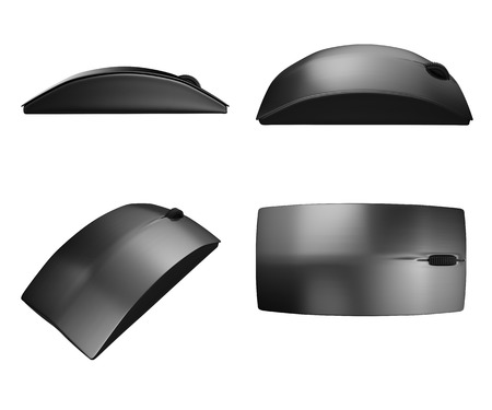 black wireless mouse isolated on white