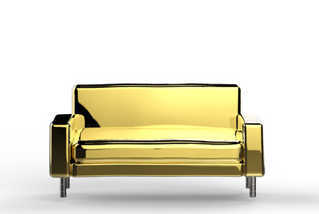 white sofa: 3d rendering gold sofa on white background