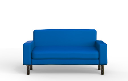 blue leather sofa: 3d rendering blue sofa on white background
