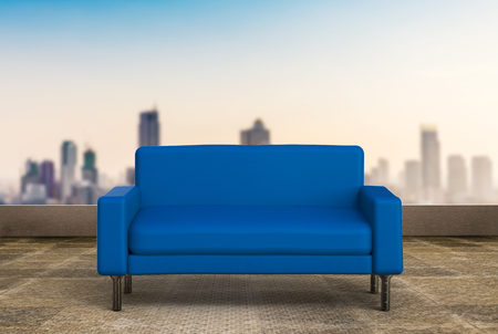 blue leather sofa: 3d rendering blue sofa on cityscape background