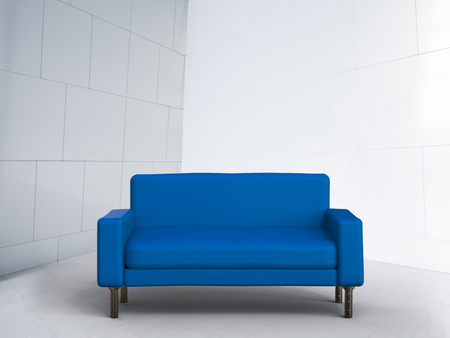 white sofa: 3d rendering blue sofa on white background