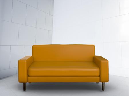 white sofa: 3d rendering brown sofa on white background
