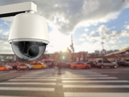 deterrent: 3d rendering security camera or cctv camera with cityscape background
