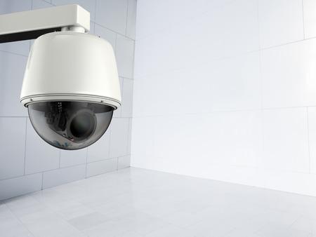 deterrent: 3d rendering security camera or cctv camera indoor