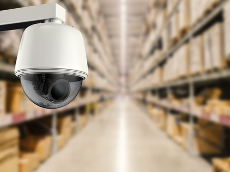 deterrent: 3d rendering security camera or cctv camera in store Stock Photo
