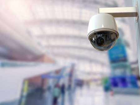 3d rendering security camera or cctv camera in airport Stock Photo