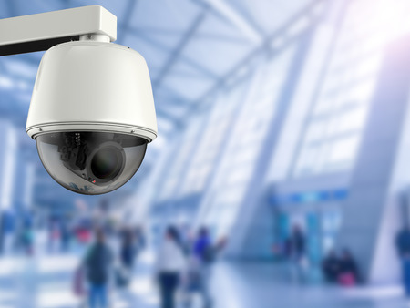 public safety: 3d rendering security camera or cctv camera in airport Stock Photo