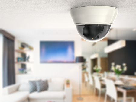 3d 렌더링 보안 카메라 또는 cctv 카메라 천장에 스톡 콘텐츠