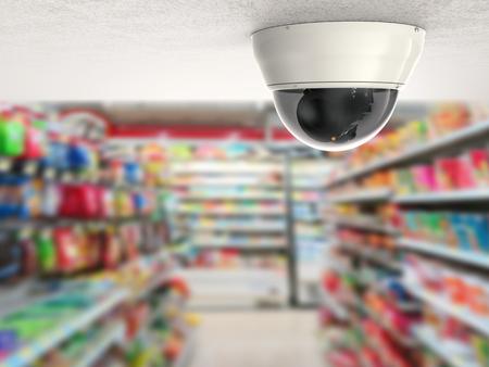 セキュリティ カメラや小売ショップ背景と天井の cctv のカメラ 写真素材
