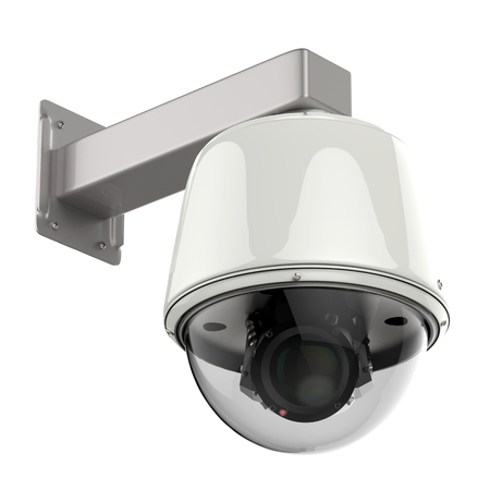 deterrent: 3d rendering security camera or cctv camera isolated on white