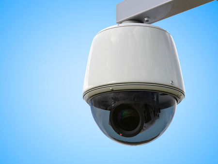 deterrent: 3d rendering security camera or cctv camera on blue background Stock Photo