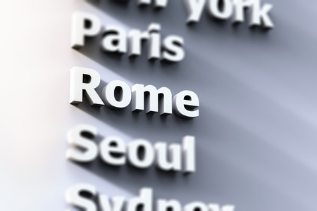 the capital city: capital city focus on Rome with grey background Stock Photo