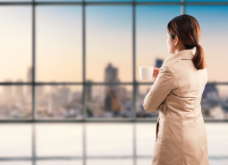 dream land: rear view of businesswoman standing with cityscape background Stock Photo