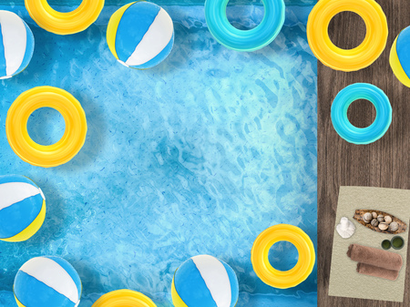 pool side: pool side relaxation with swim rings, beach ball on pool and spa accessories