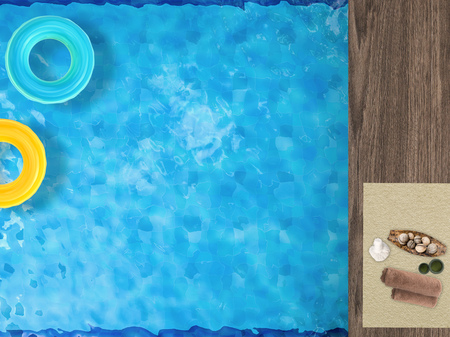 pool side: pool side relaxation with swim rings on pool and spa accessories