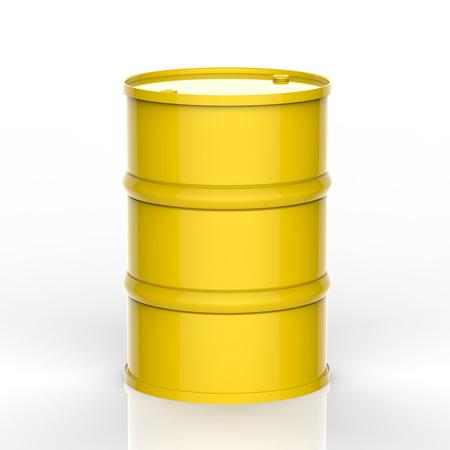 3d teruggevend geel vat op witte achtergrond