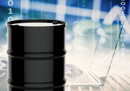 3d rendering black barrel with business graph Imagens