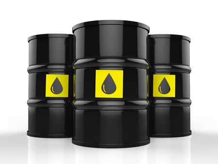 crude: 3d rendering group of crude oil barrels with yellow label Stock Photo