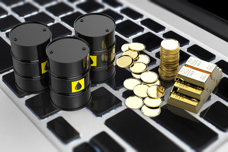 commodity: commodity online trade concept with 3d rendering black barrels and gold coins on keyboard