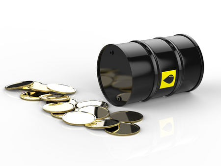 crude: 3d rendering crude oil barrels with gold coins