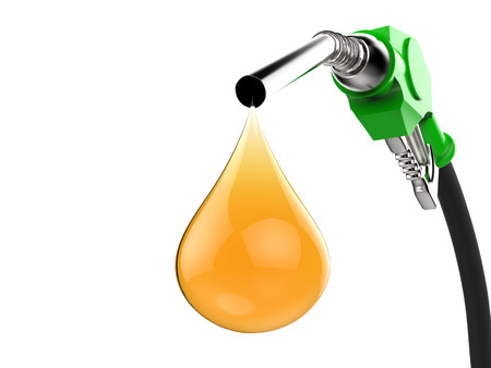 nozzle: 3d rendering green gas pump nozzle with droplet of oil