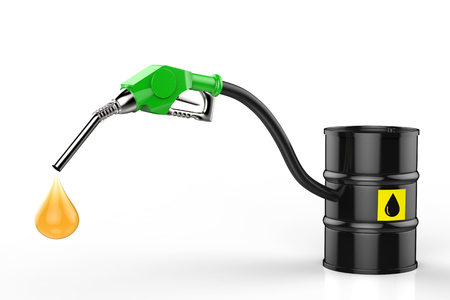 gas nozzle: 3d rendering gas nozzle with oil droplet and crude oil barrel Stock Photo
