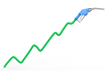 gas nozzle: rising oil price with green graph and gas nozzle