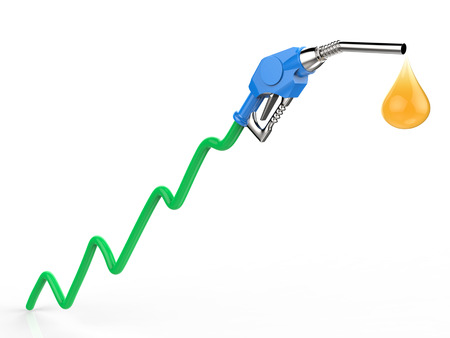 industry trends: rising oil price with 3d rendering green graph, gas nozzle and droplet of oil