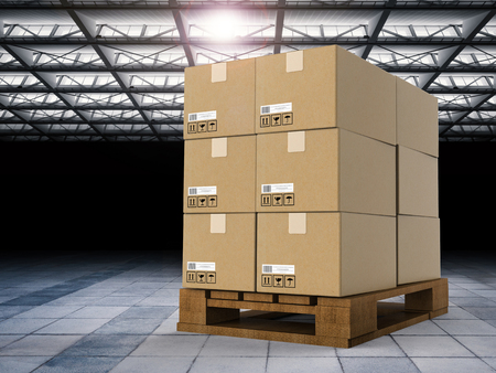 despatch: 3d rendering heap of stockpile with warehouse background