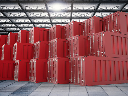 shipped: 3d rendering colorful containers in warehouse