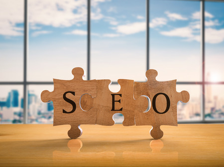 keyword research: 3d rendering jigsaw pieces with seo concept Stock Photo