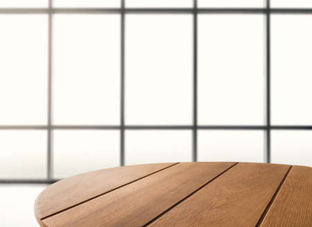 wooden coffee table with studio background