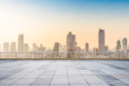 roof top: empty roof top balcony with cityscape background