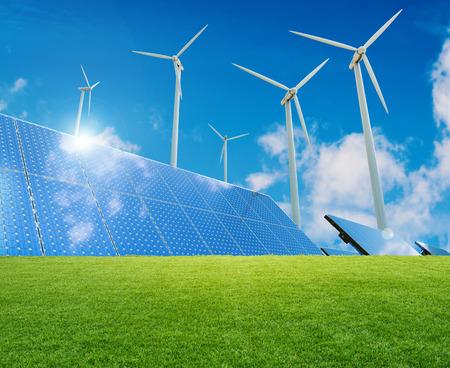 3d 렌더링 풍력 터빈과 태양 전지 패널과 대체 에너지의 개념