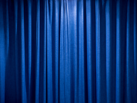 blue curtain: blue curtain background with satin cloth texture Stock Photo