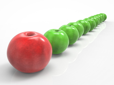 in differentiation: 3d rendering leadership concept with red apple in front of row
