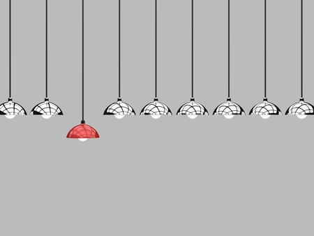 differentiation: differentiation concept with red lamp hanging