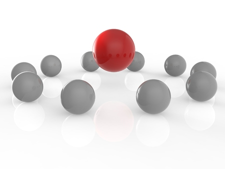 differentiation: leadership concept with red spheres on white background
