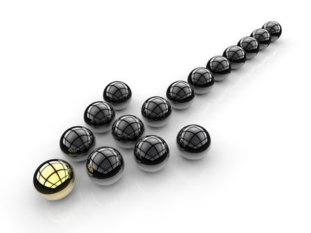in differentiation: arrow sign for leadership concept with gold and black sphere Stock Photo
