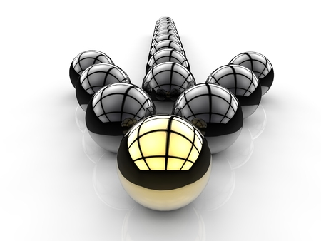 differentiation: arrow sign for leadership concept with gold and black sphere Stock Photo