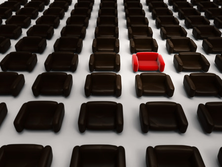 differentiation: differentiation concept with 3d rendering red armchair among black armchairs Stock Photo
