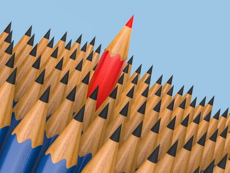 differentiation: leadership concept with red pencil among black pencils