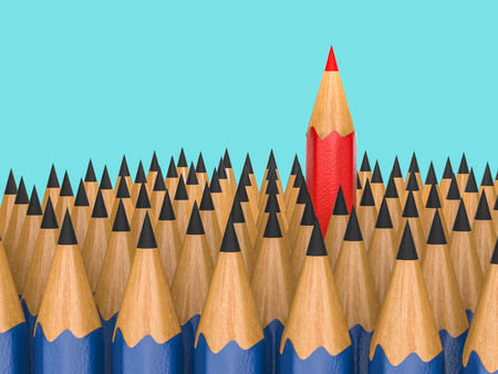 red pencil: leadership concept with red pencil among black pencils