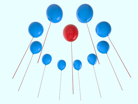 differentiation: leadership concept with red balloon among blue balloons