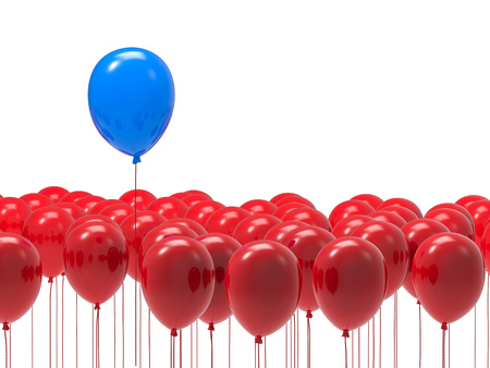differentiation: leadership concept with blue balloon among red balloons